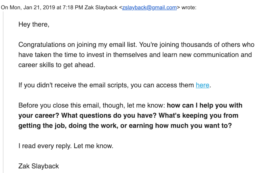 zak slayback welcome email